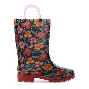 Western Chief Sketch Garden Girls' Light-Up Waterproof Rain Boots
