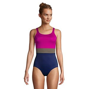 Women's Lands' End Mastectomy Tugless Chlorine Resistant One-Piece Swimsuit