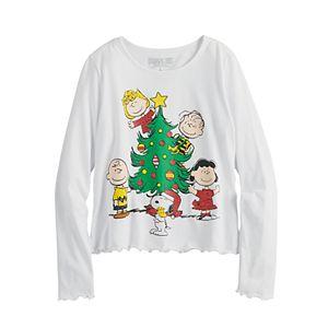 Girls 7-16 Peanuts Gang Christmas Tree Graphic Tee