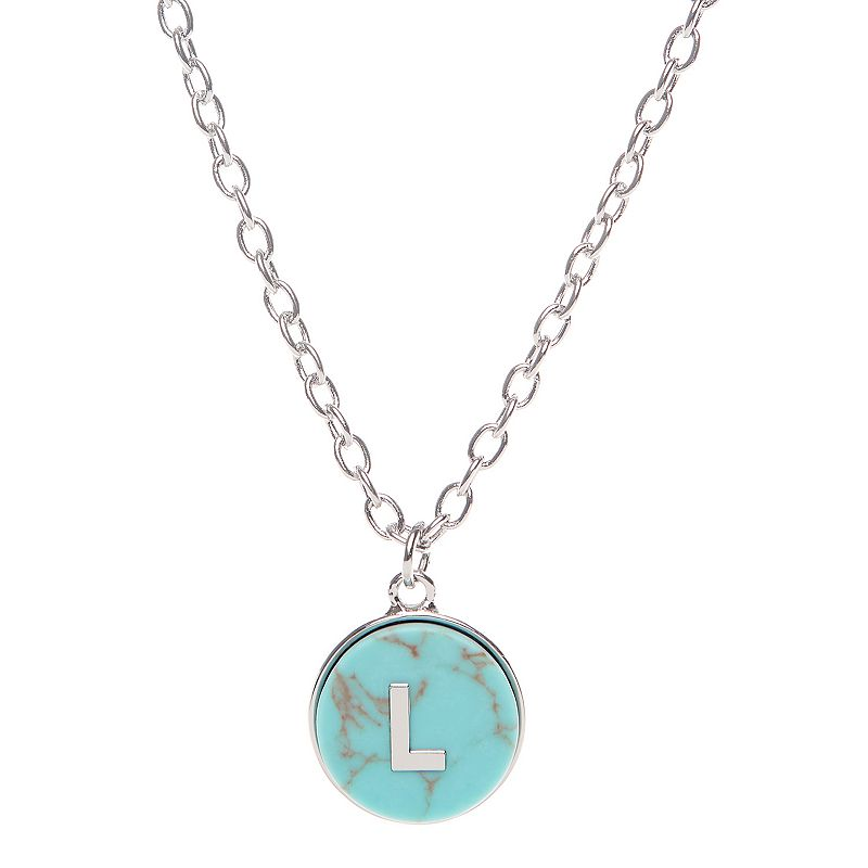 Sonoma Goods For Life Small Monogram Pendant Necklace, Women's, Turquoise/Blue