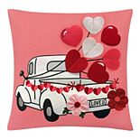 Celebrate Valentine's Day Together Truck Throw Pillow