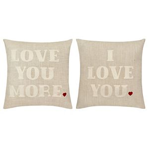 Celebrate Valentine's Day Together 2-pack Love You More Throw Pillow Set