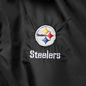 Men's Black Pittsburgh Steelers Coaches Classic Raglan Full-Snap Windbreaker Jacket