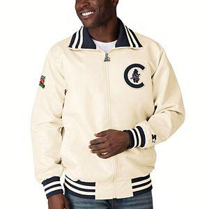 Men's Starter Cream Chicago Cubs The Captain II Full-Zip Jacket