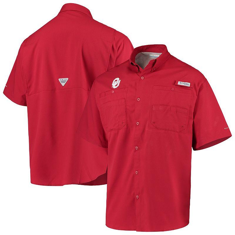 Men's Columbia Crimson Oklahoma Sooners PFG Tamiami Omni-Shade Button-Down Shirt, Size: Small, Red