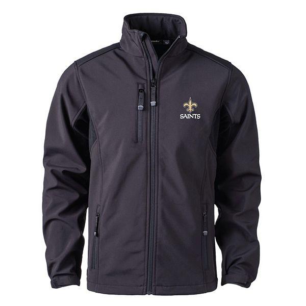 Men's Black New Orleans Saints Softshell Fleece Full-Zip Jacket HM0IU