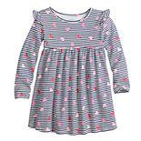 Toddler Girl Jumping Beans® Babydoll Heart Print Long Sleeve Dress