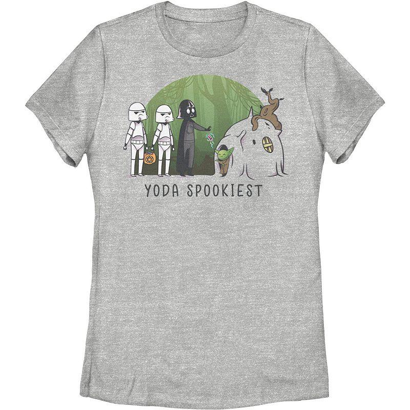 Juniors' Star Wars Yoda Spookiest Halloween Graphic Tee, Girl's, Size: Medium, Med Grey