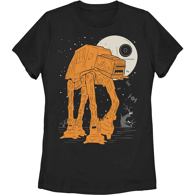 Juniors' Star Wars AT-AT Moon Death Star Halloween Poster Graphic Tee, Girl's, Size: Medium, Black