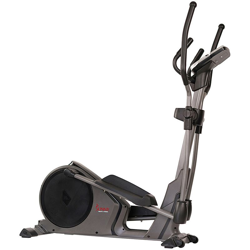 Sunny Health & Fitness SF-E3912 Magnetic Elliptical Trainer, Grey Pack a cardio workout in the comfort of your own home with this SF-E3912 Pre-Programmed Elliptical Trainer by Sunny Health & Fitness. Pack a cardio workout in the comfort of your own home with this SF-E3912 Pre-Programmed Elliptical Trainer by Sunny Health & Fitness. Watch the product video here. 16 levels of programmable magnetic resistance when you power on this elliptical machine Monitor tracks speed, time, distance, calories burned, rotations per minute, watt generations, and magnetic resistance level Take advantage of it 330lbs weight capacity and its floor stabilizers, which will keep the elliptical steady Move this elliptical from room to room with the front-loaded transportation wheels that can easily glide across ground surfaces 24 unique workout modes, including manual, pre-program, watt, body fat, heart rate, and user programs Monitor your heart rate comfortably with the conveniently-located heart rate hand grips or an optional heartrate belt 15.5-inch strideWHAT'S INCLUDED Elliptical, User Manual, Tool, Hardware 55-in. L x 23-in. W x 64.5-in. H Weight Capacity: 330 lbs Steel, Others 3-year/180 day-limited warranty. For warranty information please click here Model no. SF-E3912 Warning Cancer and Reproductive Harm www.P65Warnings.ca.gov. Size: One Size. Color: Grey. Gender: unisex. Age Group: adult.