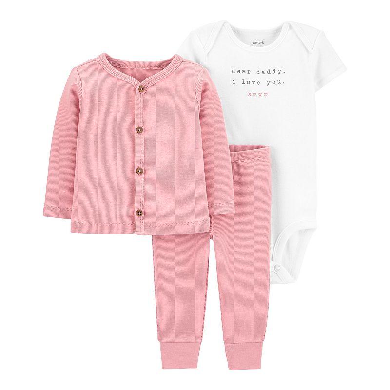 Baby Girl Carter's 3-Piece Little Cardigan Set, Infant Girl's, Size: PREEMIE, Pink