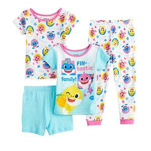 Toddler Girl Baby Shark Fintastic 4 Piece Pajama Set