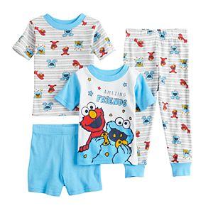 Toddler Boy Sesame Street 4 Piece Elmo & Cookie Monster Pajama Set