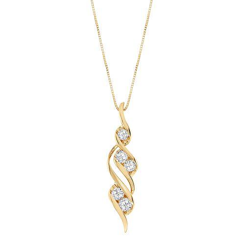 Sirena Collection 14k Gold 1/2-ct. T.W. Round-Cut Diamond Swirl Pendant