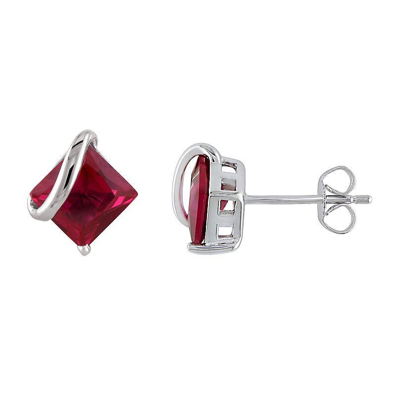Stella Grace 10k White Gold Lab-Created Ruby Stud Earrings, Women's, Red