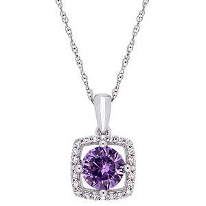 Stella Grace 10k White Gold 1/10 Carat T.W. Diamond & Lab-Created Alexandrite Halo Pendant Necklace