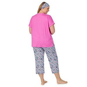 Plus Size Cuddl Duds® Headband, Pajama Tee & Pajama Capri Set