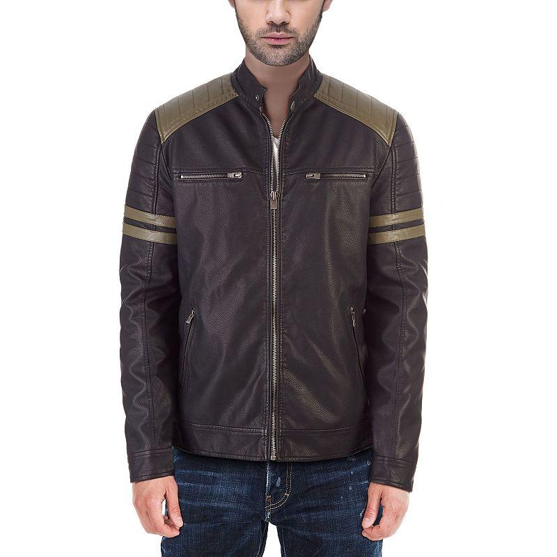 Men's XRAY Faux-Leather Moto Jacket with Stripe Detail, Size: Large, Black