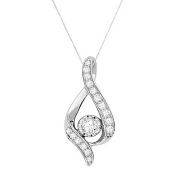 Sirena Collection 14k White Gold 3/8-ct. T.W. Round-Cut Diamond Teardrop Pendant