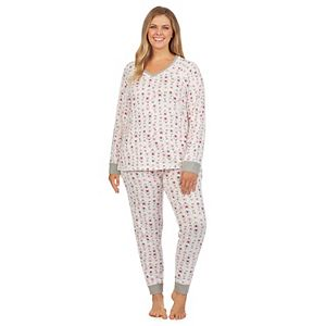Plus Size Cuddl Duds® Sweater Knit Pajama Top & Banded Bottom Pajama Pants Set