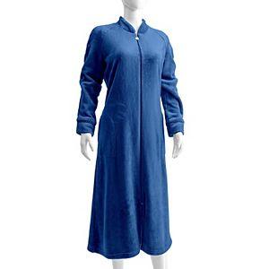 Women's Miss Elaine Essentials French Fleece Long Zipper Robe & Blanket Set