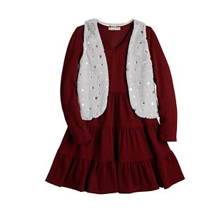 Girls 7-16 & Plus Size Knit Works Dress & Faux-Fur Vest Set