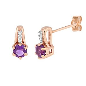 10k Rose Gold Amethyst & Diamond Accent Earrings