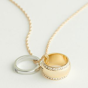 Elizabeth and James Two-Tone Rings On Chain Necklace