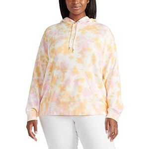 Plus Size Chaps Tie-Dye French Terry Hoodie