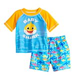 Baby Boy Baby Shark Rashguard Top & Swim Trunks Set