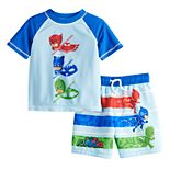 Toddler Boy PJ Masks Rashguard Top & Swim Trunks Set