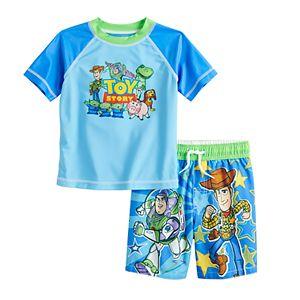 Disney / Pixar Toy Story Toddler Boy Rashguard Top & Swim Trunks Set