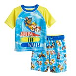 Paw Patrol Surfing Toddler Boy Rashguard Top & Swim Trunks Set