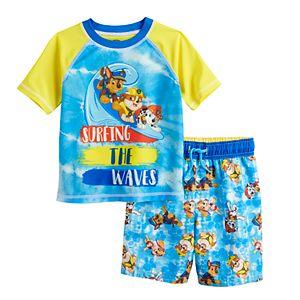 Paw Patrol Surfing Toddler Boy Rashguard Top & Swim Trunks Set