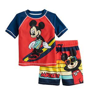Disney's Mickey Mouse Surfing Rashguard Top & Swim Trunks Set