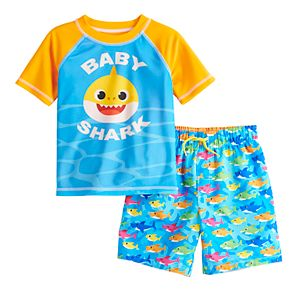 Toddler Boy Baby Shark Rashguard Top & Swim Trunks Set