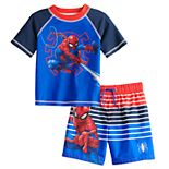 Toddler Boy Marvel Spider-Man Rashguard Top & Swim Trunks Set