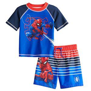 Toddler Boy Marvel Spider-Man Rashguard Top & Swim Trunks Set