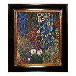 La Pastiche Farm Garden with Sunflowers by Gustav Klimt Framed Wall Art