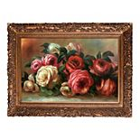 La Pastiche Discarded Roses Renoir Framed Canvas Wall Art
