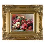 La Pastiche Discarded Roses Renoir Metallic Framed Canvas Wall Art