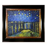 La Pastiche Starry Night Over the Rhone Vincent Van Gogh Framed Canvas Wall Art