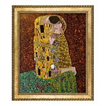 La Pastiche The Kiss Full View Gustav Klimt Framed Canvas Wall Art