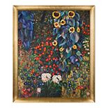 La Pastiche Farm Garden with Sunflowers Gustav Klimt Framed Canvas Wall Art