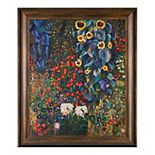 La Pastiche Farm Garden with Sunflowers Gustav Klimt Framed Canvas Wall Art