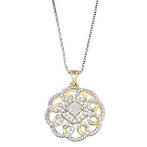 Gold Tone Sterling Silver 1/3 Carat T.W. Diamond Circle Pendant Necklace