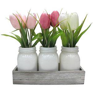 Sonoma Goods For Life Mason Jar Artificial Floral Arrangement Table Decor 3-piece Set