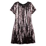 Girls 7-16 Three Pink Hearts Sequined Ombre Dress