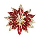 Napier Gold Tone & Simulated Crystal Poinsettia Pin