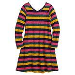 Girls 7-16 Three Pink Hearts Striped Dress